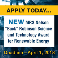 "MRS Nelson ""Buck"" Robinson Science and Technology Award for Renewable Energy"