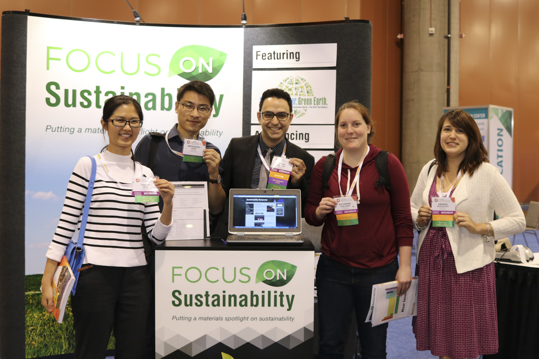 MRS members at the Focus on Sustainability booth at the 2015 MRS Fall Meeting