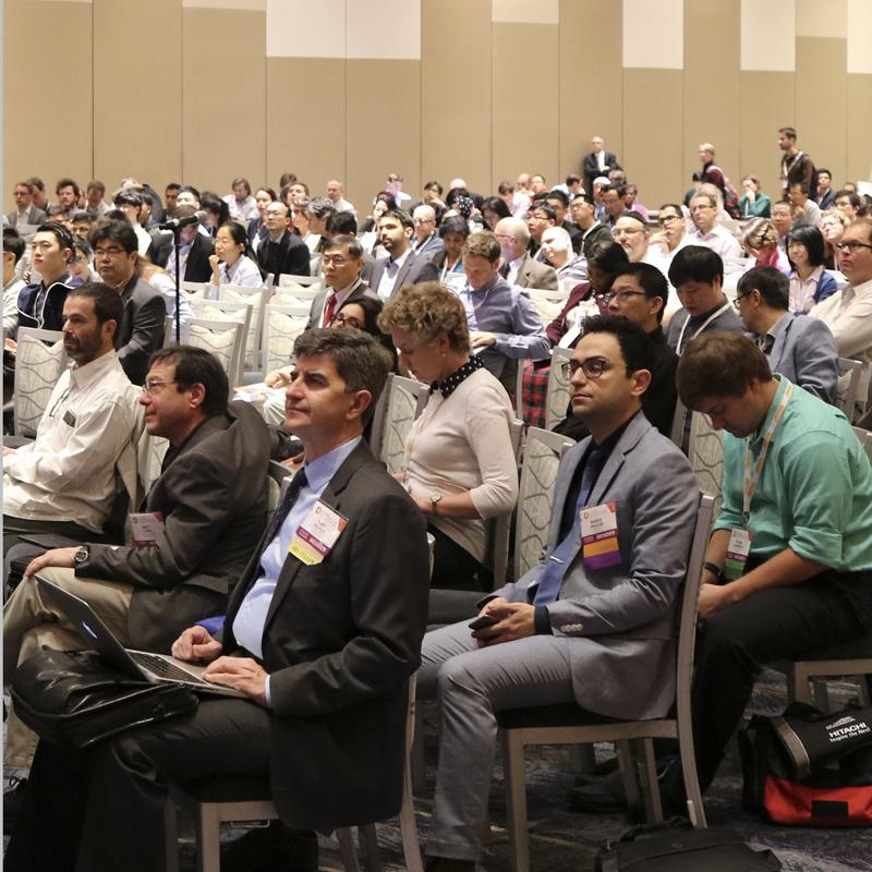 Meeting attendees listen to a talk.