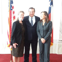 Linda Olafson, Texas Senator Ted Cruz, and Naomi Halas