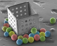 SEM image of microbeads lying outside a self-assembled 500 micron sized box.